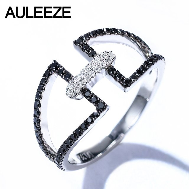 AULEEZE Personality Trend Real Diamond Rings For Women 18K Solid White Gold Black Diamond Ring Fine Jewelry