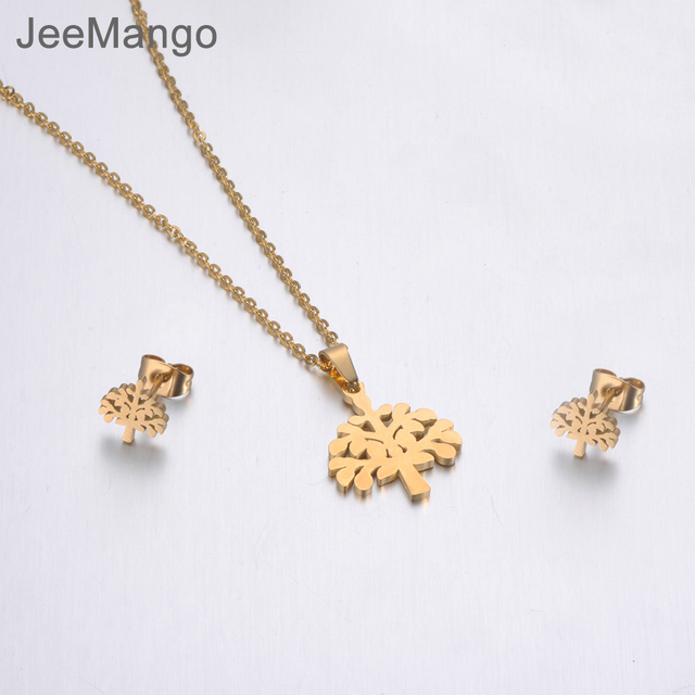 JeeMango Stainless Steel Sets For Women Girls Gold Color Tree Shape Necklace Earrings For Women Lover's Anniversary Jewelry