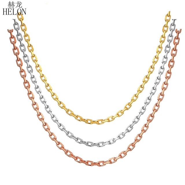 "HELON 18K Solid Rose Gold Yellow Gold White Gold Chain 18"" About 45cm Necklace Au750 Necklace Wedding Party Gift For Women"