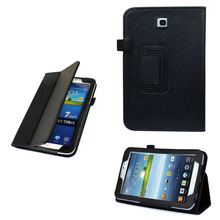 """Cases Covers Folio Leather Case Cover Stand For Samsung Galaxy Tab 3 7.0"""" 7"""" Tablet P3200 BLK"""