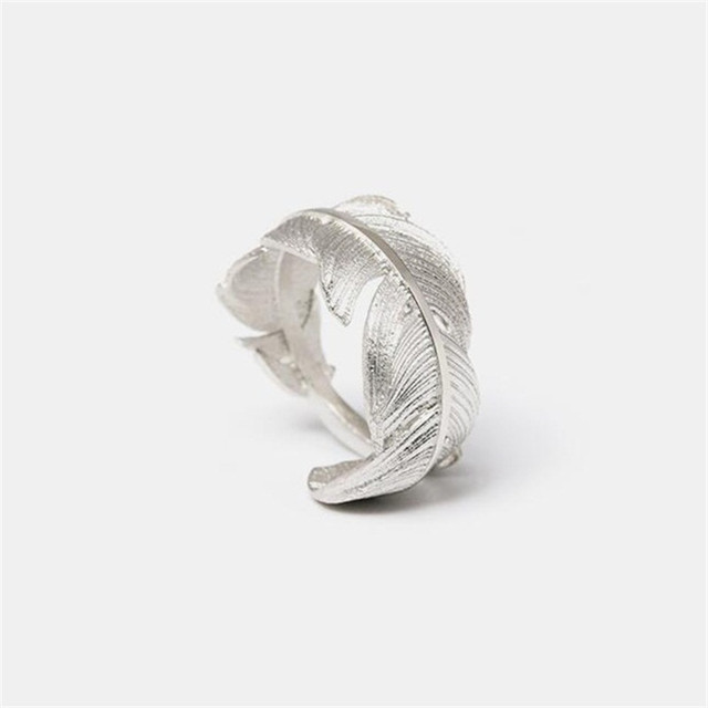 Flyleaf 925 Sterling Silver Feather Open Rings For Women Original Handmade Lady Prevent Allergy Sterling-silver-jewelry