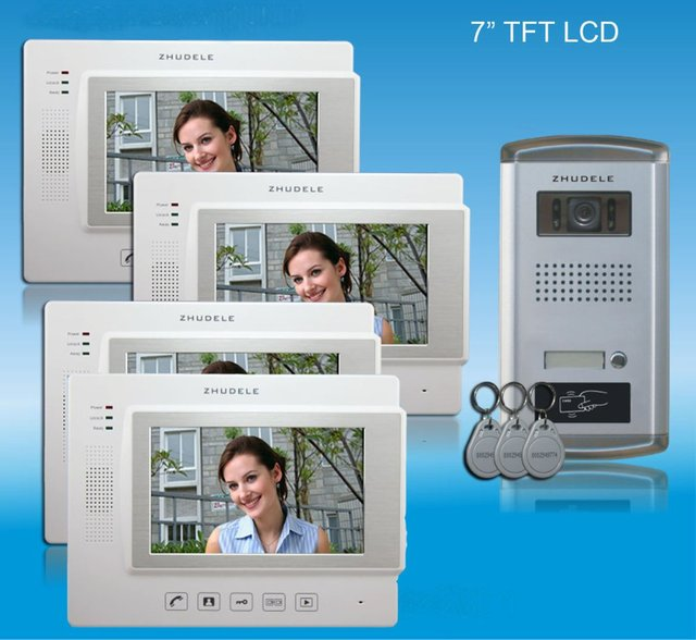 """ZHUDELE TOP QUALITY HOME PRODUCT - 7""""color video door phone,CCD camera with ID card unlocked  ,touch screen with SD CARD(1 to 4)"""