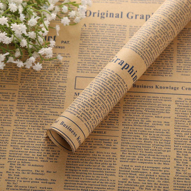Kraft Paper Newspaper Bouquet Flower Packaging Paper Gift Wrapping Paper Multi-Purpose Packing Decor