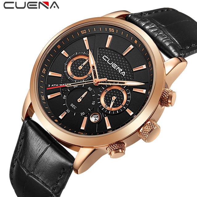 Brand Fashion Men Quartz Watches Leather Analog Man Watch Waterproof Luxury Business Wristwatches Clock 6805 Sport Military
