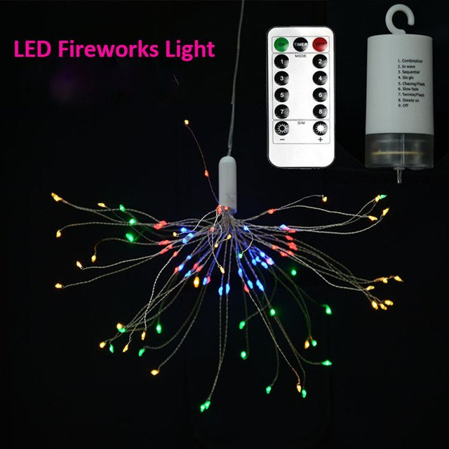 Home/Garden Decorative Firework LED SMD0603 Light 8 Mode Copper Wire DIY String Light with Remote Control