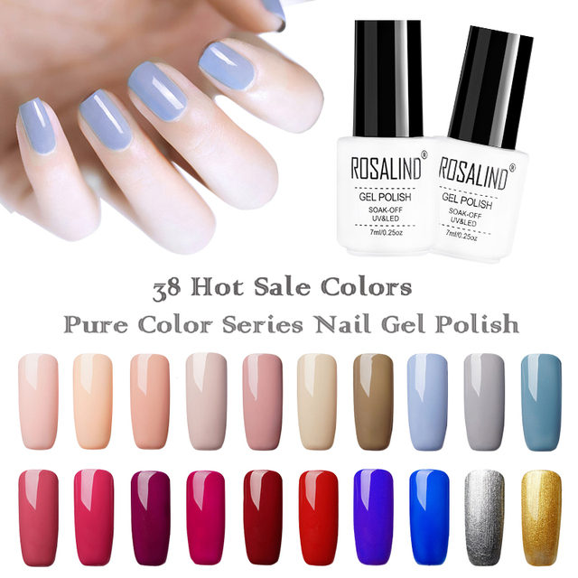 ROSALIND Gel Nail Polish 7ml White Bottle Hybrid Gel Lacquer Soak Off Primer Top Coat Nails Art Manicure UV Colors Gel Varnish