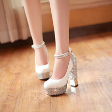 2015 Women Red Sole Ankle Strap High heels Sequins Thick Heel Platform Pumps Women Wedding Shoes White/Silver/Gold/Black