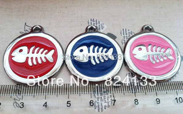 free shipping tags for pets dogs,30mm round fish id dog name tags,mix colors