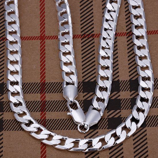 """Hot 925 Sterling Silver 8mm 20"""" Flat Chain Necklace Mens Necklace.Freeshipping"""