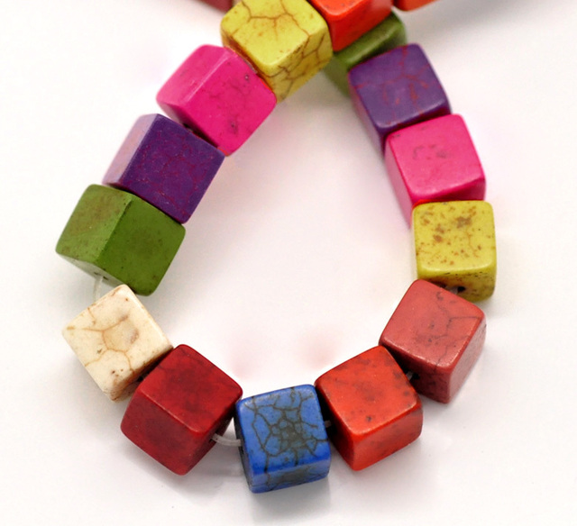 "Hot Sale Free Shipping 2 Strands Mixed Howlite Cube Loose Beads 8x8mm(3/8""x3/8""), 39cm Long (w02105) Aa"