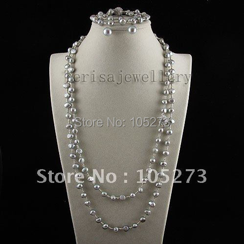 Charming! gray pearl necklace bracelet earring jewelry set Genuine freshwater pearl Fashion woman's jewelry Free shipping A2551