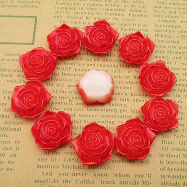 100pcs/lot 18mm*19mm Flower red Flat Back Imitation Pearls Beads For Jewelry Making Phone Decoration 003001003