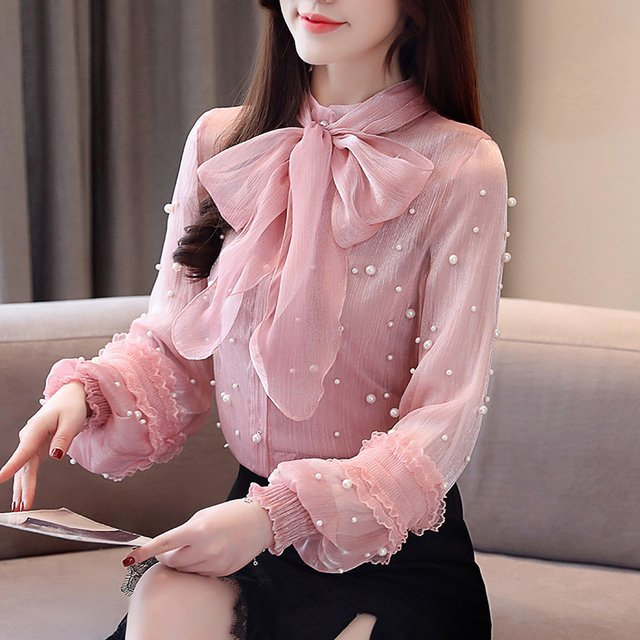 2019 Loose Long Sleeve Bead Work Bow Tie Shirts Women Chic Bead Work Pearl Transparent Chiffon Shirts Lady See-through Tops