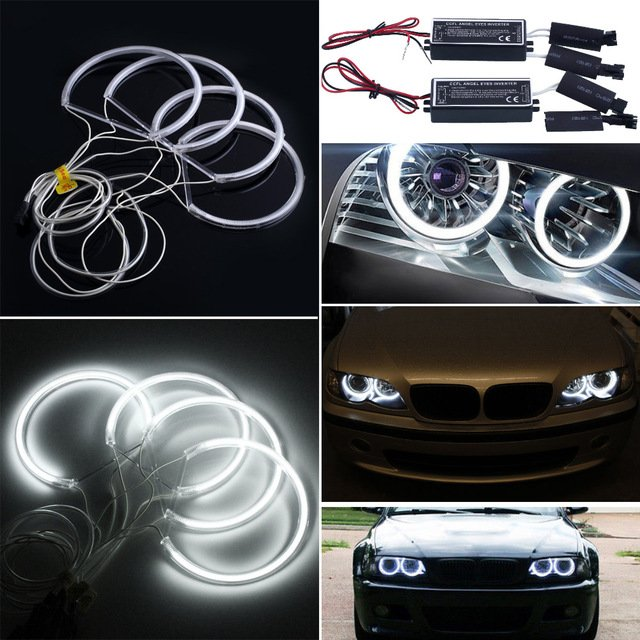 4X Angel Eye Halo Ring Light CCFL Headlight Lamp For Car BMW E46 White