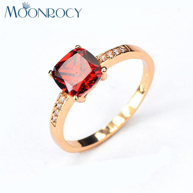 MOONROCY Drop Shipping Fashion Jewelry Wedding Rings Rose Gold Color Cubic Zirconia Austrian Red Purple Crystal Rings for Women