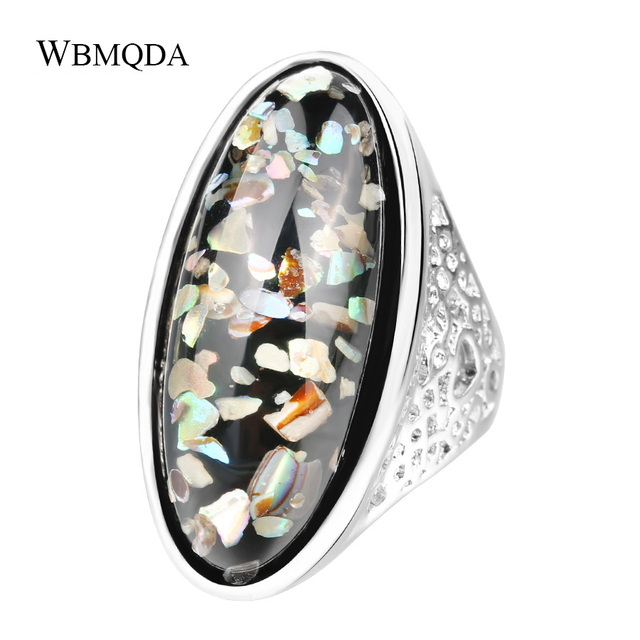 Luxury Colorful Shells Rings For Women Fashion Big Artificial Coral Ring Silver Plated Accessories Vintage Jewelry Free Shipping
