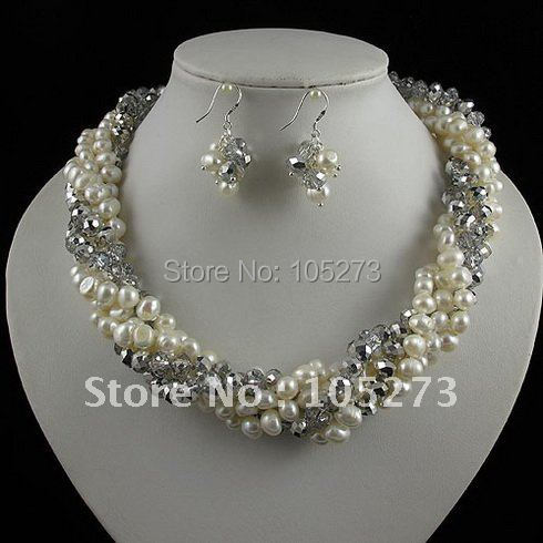 Charming!pearl jewelry set 5rows AA 8-9mm white color Genuine freshwater pearl & crystal necklace earring free shipping A2463