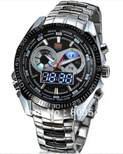 2013 Hight Quality TVG KM-468 Digital Sports LED Watch with Double Movt Round Dial Steel Watchband for Men military watches