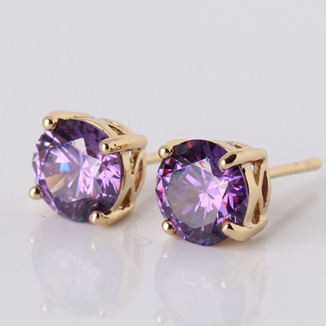 Best Quality 2017 Fashion Purple Rhinestones Stud Earrings Gold-color Earings for Women Jewelry Wholesale E032d