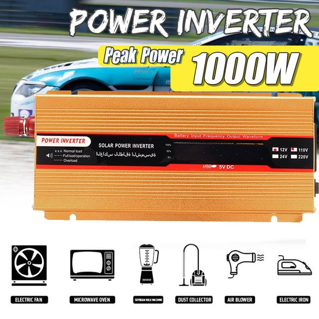 Modified Sine Wave 1000W Peak Aluminium Alloy Solar Power Inverter Portable Transformer Car Inverter High Performance Outdoor