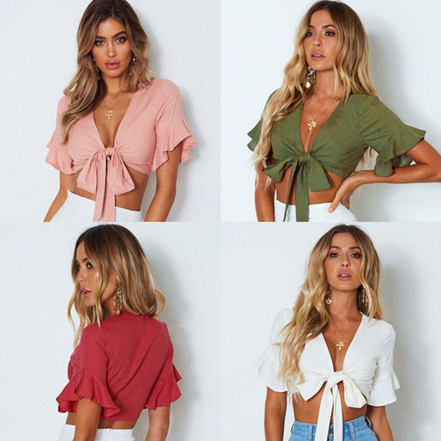 2018 Summer Sexy Fashion Women Casual Tank Crop Tops Solid Vest Blouse Off Shoulder Short Sleeve Tanks