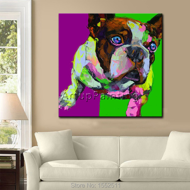 Pop art  dog Pets on canvas modern abstract oil painting handmade oil painting Animal Pop Art Home Decor Living Room