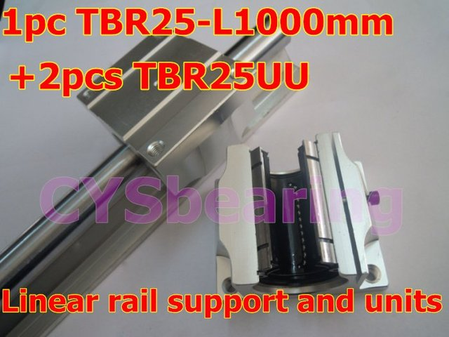 1pcs TBR25 -L 1000mm linear bearing rails shaft support + 2pcs TBR25UU linear slide bearing unit case block for CNC XYZ table