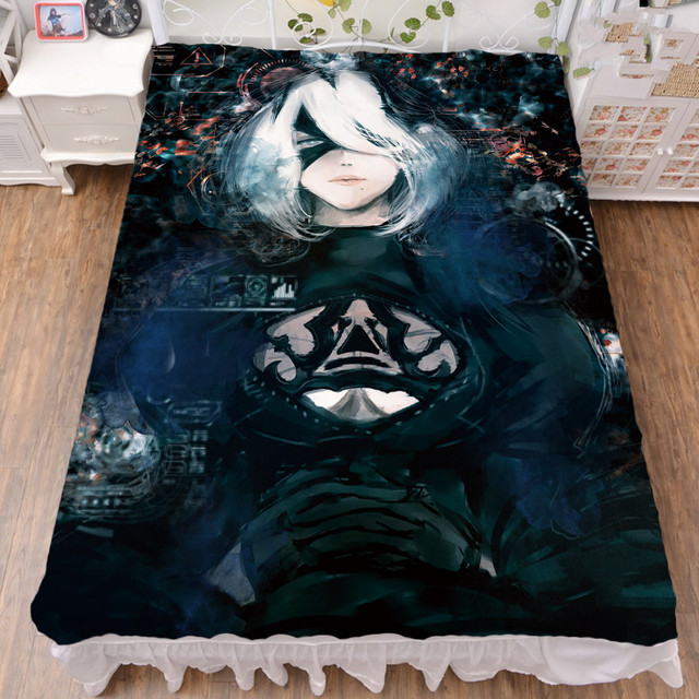 Anime NieR:Automata characters sexy girl YoRHa No. 2 Type B bed milk fiber sheet & flannel blanket summer quilt 150x200cm