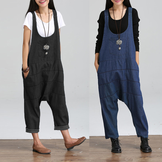 Celmia Oversized Women Harem Jumpsuits 2020 Vintage Denim Overalls Sleeveless Backless Pockets Playsuits Casual Rompers S-5XL
