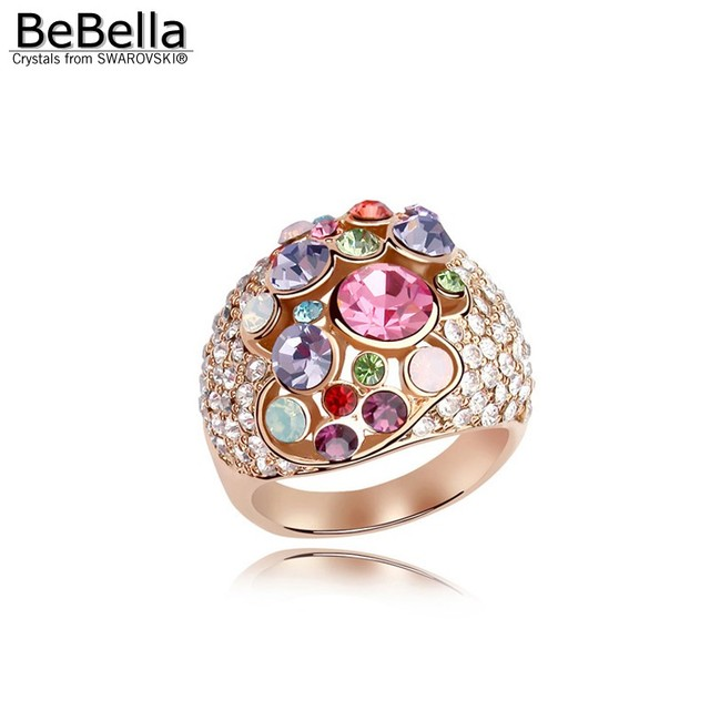 BeBella gold color plated crystal ring made with Austrian Crystals from Swarovski for girls Christmas gift