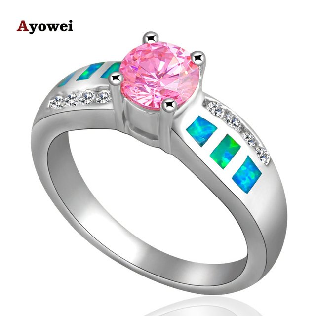 Wholesale Trendy nice friendly gift Pink Crystal Blue Fire Opal Silver Stamped Ring USA Sz #7.5 Fashion Jewelry OR304A