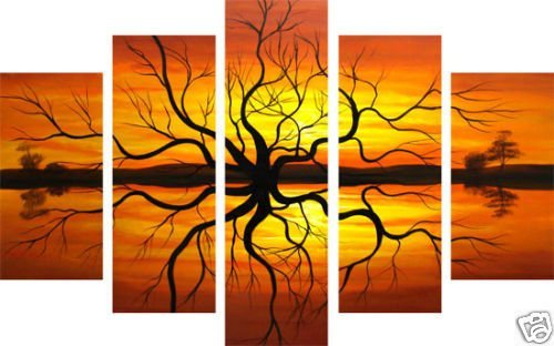 hand-painted  wall art sunset reflection tree  lake home decoration abstract  Landscape oil painting on canvas 5pcs/set mixorde