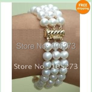 Graceful! 3Rows AA 7-8MM White color freshwater pearl bracelet 7.5''inchs fashion woman's jewelry Free shipping NF51