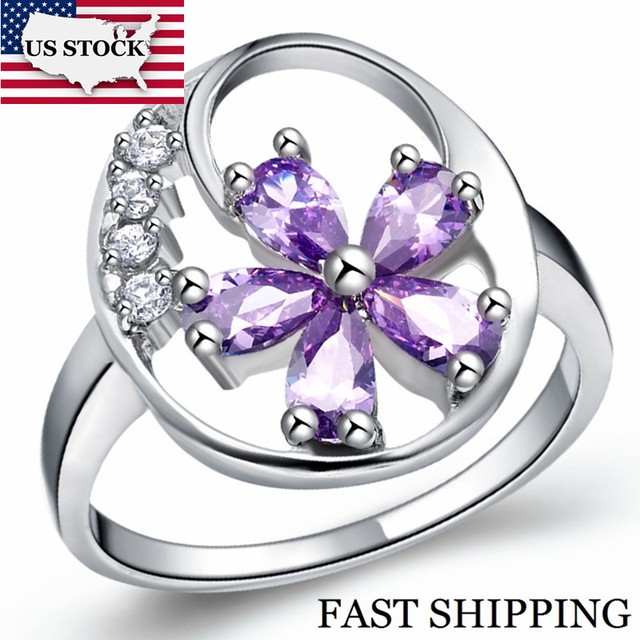 US STOCK 15% Off Wedding Flower Ring Female Vintage Silver Fashion Rings for Women Crystal Jewellery Anillos Aneis Uloveido J336