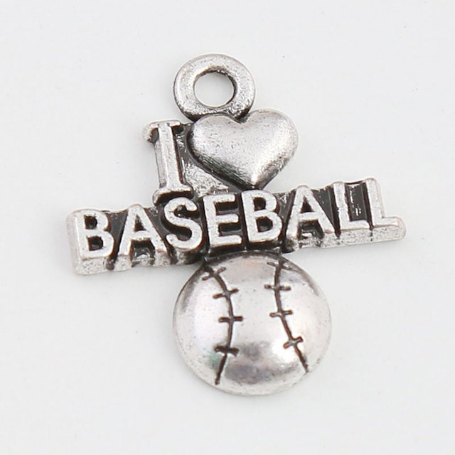 RAINXTAR Antique Silver Color I Love Baseball Charms Vintage Alloy Letter Charms 18*21mm 50pcs AAC955