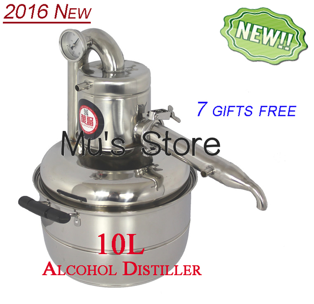 Russia Free Shipping!Household Stainless Steel 10L Home Alcohol Distiller Wine Brewing Device Spirits Distillation Boiler