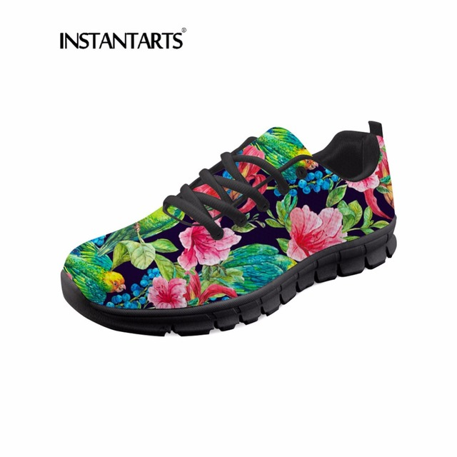 INSTANTARTS Tropical plants Pattern Casual Lace Up Sneakers High Quality Women Fashion Breathable Cute Bird Mesh Girl Flat Shoes