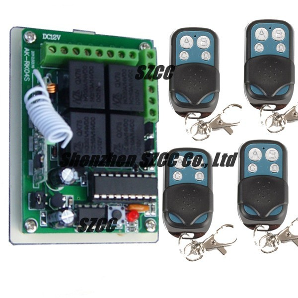 Wholesale 12V 4CH RF Wireless Remote Control Switch System 4 Transmitters and 1 Receiver For Applicance Garage Door