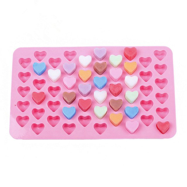 1 pc 55 Holes Small Heart Chocolate Mold Silicone 3D Heart Shape Fondant Cake Mold Ice Cube Craft Cake Decoration Tool