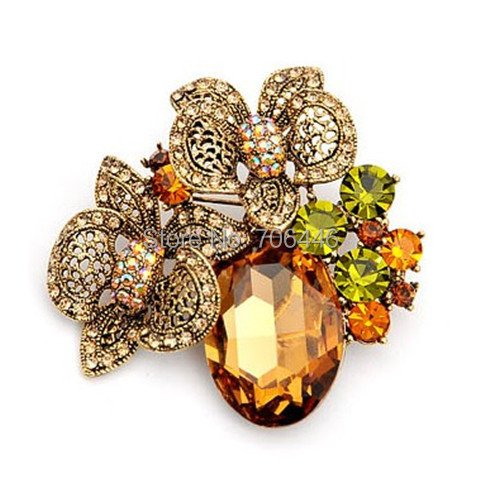 Silver Plated Rhinestone Crystal Diamante and Large Glass Stone Beautiful Flower Brooch
