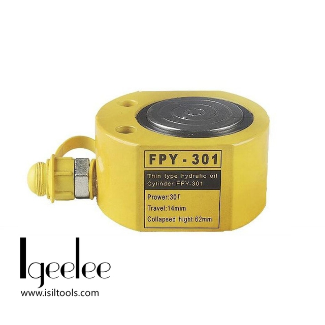 iGeelee Super Thin Type Hydraulic Cylinder FPY-301 Hydraulic Jack with height of 63mm, work travel of 14mm with 30T