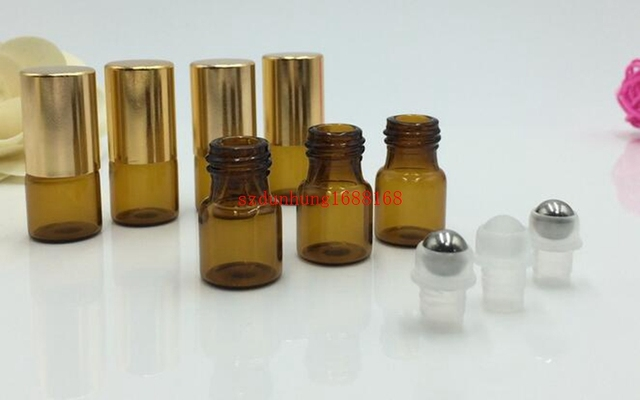 Free shippping 1000pcs/lot  3ml Refillable Amber Brown MINI ROLL ON GLASS fragrance ESSENTIAL OIL BOTTLE Steel Metal Rolle