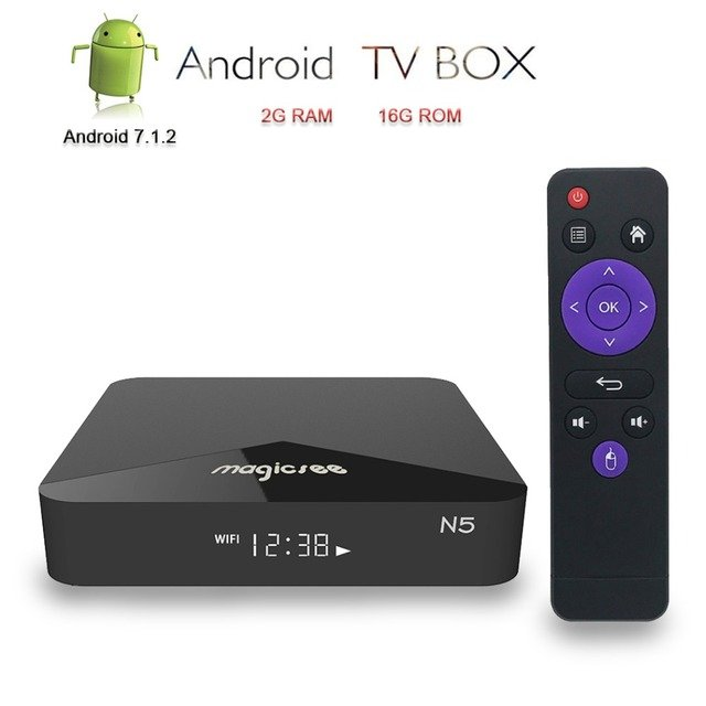 Magicsee N5 TV Box Android 7.1.2 Smart TV 4K IPTV Box H.265 Amlogic S905X DDR3 2G RAM/16G ROM BT4.1 Media Player