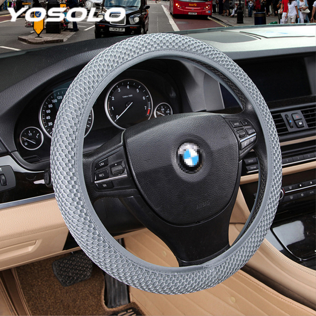 YOSOLO Breathability Car Steering Wheel Cover Handmade Skidproof 4 Clolors Car Styling Durable Sandwich Fabric