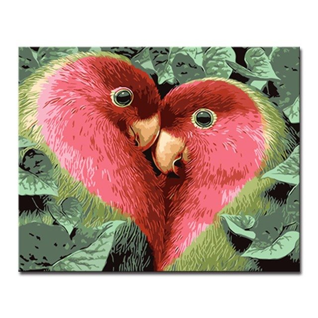 Framed Oil Painting By Numbers Home Decor DIY Digit Kits Coloring Red Love Birds Pictures On Canvas Wall Art Abstract Drawing