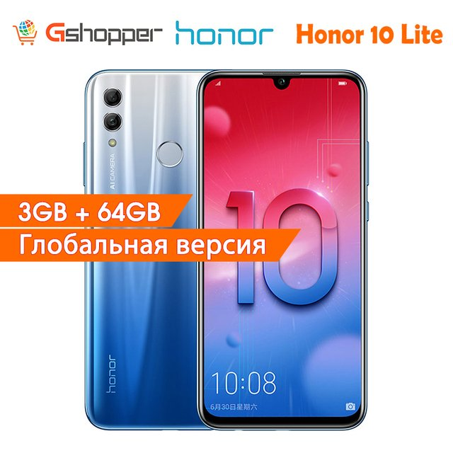 Honor 10 Lite Global Version Smart phone 6.21 inch 2340*1080 Octa Core Mobile Phone 3 Cameras Fingerprint