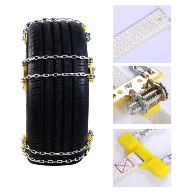 3 Size Durable Manganese Steel Car Tire Anti-skid Chain Easy Application Tire Anti-skid Belt For Snow Road Ice Road Sand Road