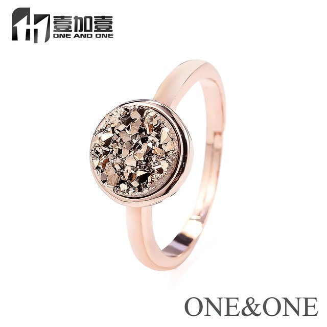 2019 Popular Opal Women Rings Wholesale Price Natural Druzy Rings Rouns 8mm Rose Gold Drusy Stone Jewelry