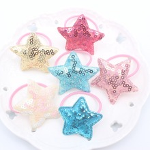 2018 new Round sequin five-pointed star Nylon rubber bands girls Elastic Hair Bands Head rope hair accessories for kids 1pcs
