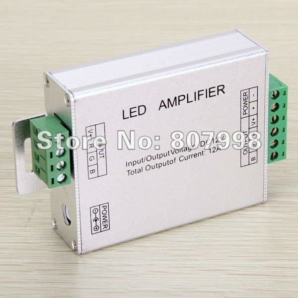 144W  LED RGB Amplifier , DC 12 - 24V Input, 12A Current used for 3528&5050 SMD RGB LED Strip Light